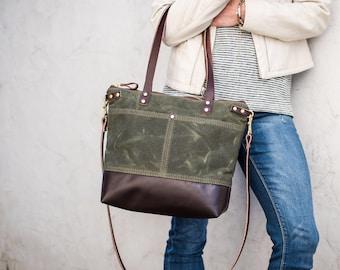 Waxed Canvas bag, waxed canvas tote, medium bag, work bag, Leather and canvas bag, everyday bag, travel bag, crossbody bag, zipper bag