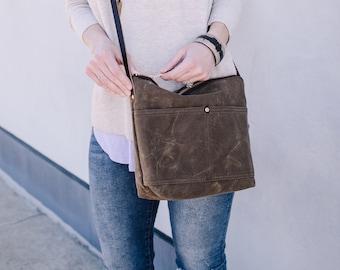 1ecc34fe5 Waxed Canvas Cameron Bag, Dark Oak Waxed Canvas crossbody, waxed canvas  bag, day bag, minimalist bag, large crossbody purse