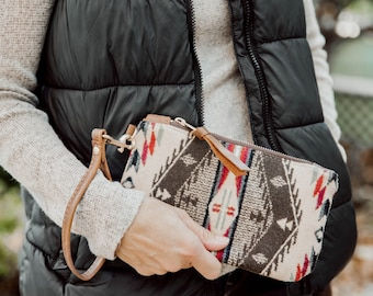 Pendleton and Leather Wristlet, wool and leather clutch, southwest, leather bag, minimalist bag, iphone bag, small leather bag