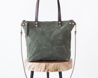 Waxed Canvas Bag, Waxed Canvas tote, waxed canvas crossbody, waxed canvas shoulder bag, waxed canvas purse, medium size bag