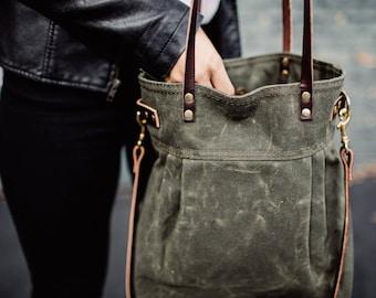 Waxed Canvas Charlie bag, Olive Green, waxed canvas tote, waxed canvas crossbody bag, shoulder bag, convertible bag
