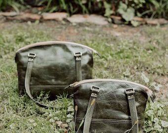 Cora Leather Bag- Olive