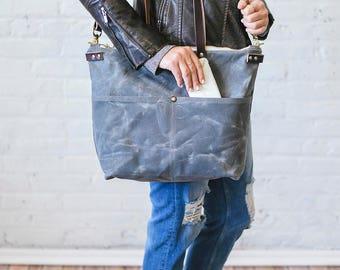Waxed Canvas work Bag, Gray tote bag, Waxed Canvas tote, waxed canvas computer bag, work bag, diaper bag, crossbody travel bag