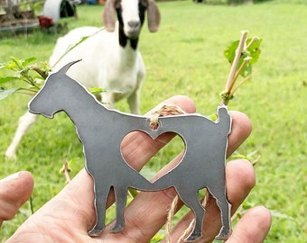goat ornament metal with heart love farm rustic raw recycled steel christmas tree decoration holiday gift house warming wedding totes magote