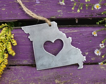 Missouri State Christmas Ornament Rustic Raw Steel Personalize Engrave Love MO Metal Holiday Decoration Stocking Stuffer House Warming Gift