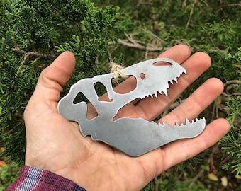 Dinosaur Skull Christmas Ornament Rustic Metal Rustic raw Steel Christmas Tree Decoration Holiday Gift Rex Dino bones By BE Creations
