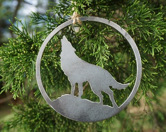 Wolf Howling to the moon Ornament made from recycled steel Rustic Christmas Tree Decoration Animal Dog Wolves Stocking Stuffer Host Gift