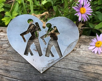 Hikers Metal Christmas Ornament Love Hiking Adventure Awaits Exploring Trails Wander Explore Backpacking Back Country  Saunter Drift