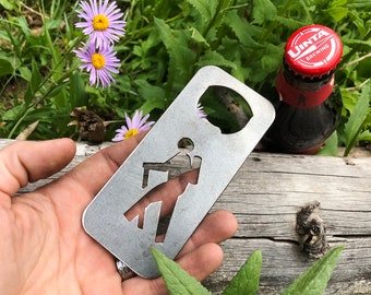 Hiker Bottle Opener made from recycled steel Hiking Gift wedding favor Party beer bar  Mountains Trails Explore Wander travel FREE SHIPPING