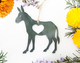 Donkey Ornament with heart made from recycled Steel Christmas Tree Decoration Jack Burro Arizona Grand Canyon Mule Southwestern Desert