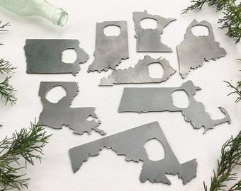 State Bottle Opener made from Raw Steel Sustainable Metal Rustic Bar Gift for Him Wedding Favor Groomsmen Beer Party Favor Anniversary Gift