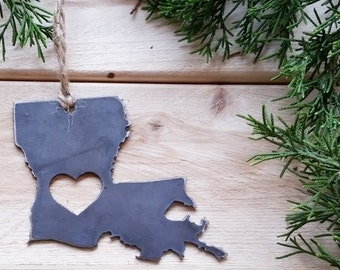 Louisiana State Christmas Ornament Rustic Raw Steel Personalize Engrave Love LA Metal Holiday Decoration Stocking Stuffer House Warming Gift