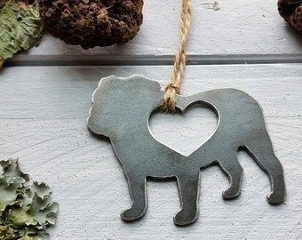 Bulldog Ornament Rustic Raw Steel Metal Dog Pet Heart Christmas Tree Ornament Host Gift Industrial Decor Wedding Favor By BE Creations