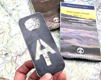 Appalachian Trail Bottle Opener made from recycled Raw Steel Explore Wander Hike Hiking Gift Outdoors Stocking Stuffer Holiday Gift Bar Beer