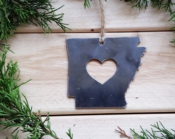 Arkansas State Christmas Ornament Rustic Raw Steel Personalize Engrave Love AR Metal Holiday Decoration Stocking Stuffer House Warming Gift
