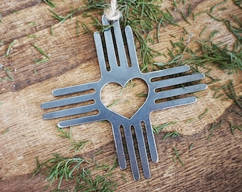 Zia Symbol Metal Ornament with heart Southwestern Christmas Tree Decoration Desert New Mexico made from Recycled Steel Holiday Decor Gift
