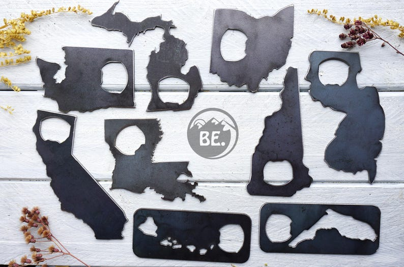 State Bottle Opener made from Recycled Raw Steel Metal Decor image 0
