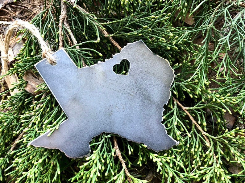 Texas State Christmas Ornament with tiny heart over Dallas ...