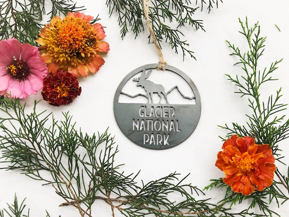 Glacier National Park Ornament made from recycled steel