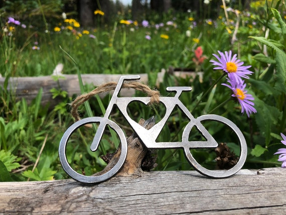 image 0 - Bicycle Christmas Ornament Love Cycling Raw Steel Bike Metal Etsy