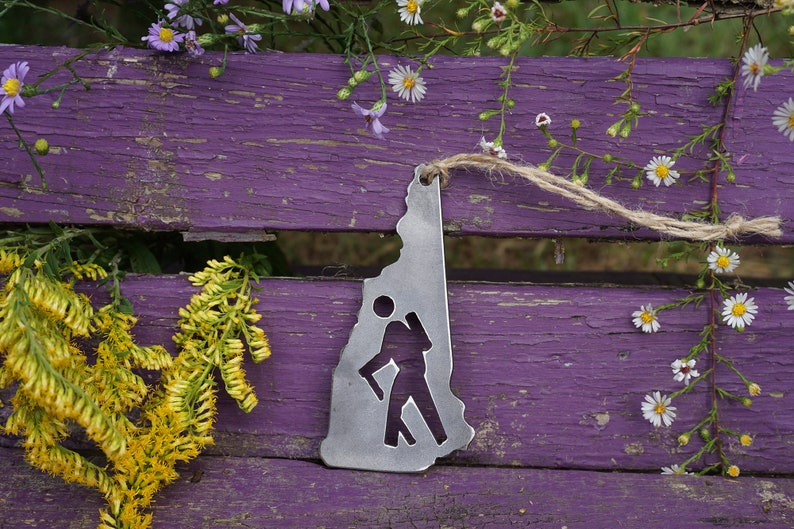 New Hampshire State Hiker Metal Christmas Ornament Rustic Raw image 0