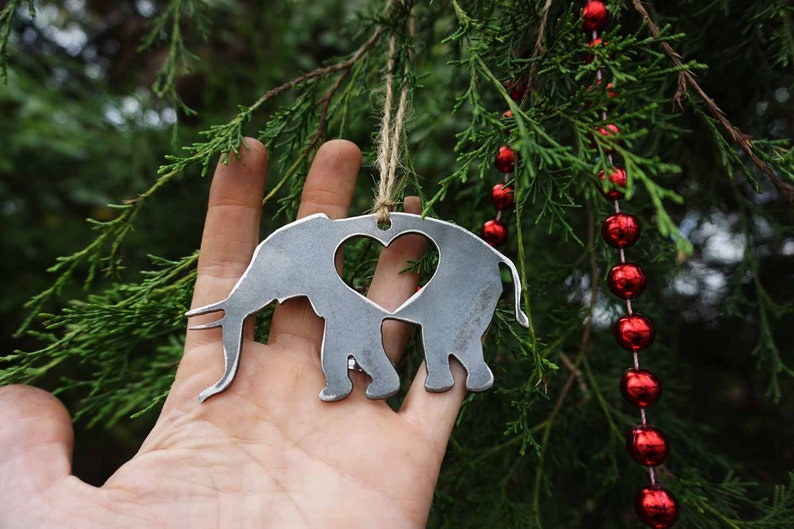 Elephant Christmas Tree Ornament With Heart Made From Recycled Steel Metal Holiday Decoration Host Gift Bama Modern Farmhouse Decor Wedding