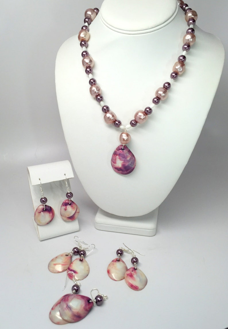 Beach Wedding Bridal Necklace and Bridesmaid Earrings with Upcycled Recycled Vintage Purple and White Mother of Pearl Shells