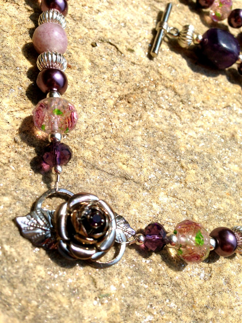 Sugilite Amethyst Lavender Rose Lampwork Silver Tone Gemstone Necklace Vintage Rose Upcycled Recycled Repurposed Necklace Purple Pearl