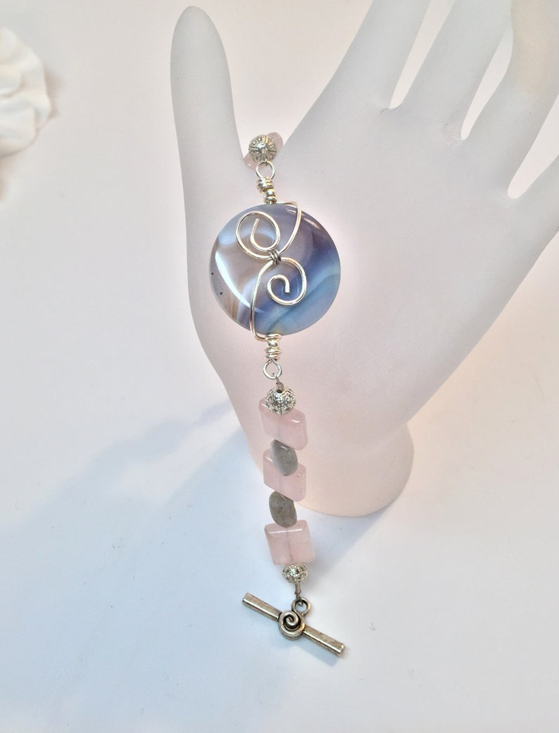 Wire Wrapped Agate Bracelet with Labradorite and Rose Quartz Gemstone Accents