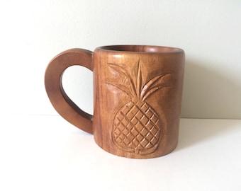 vintage wood pineapple mug