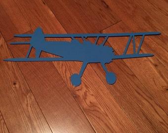 Blue Biplane Steel Wall Hanging