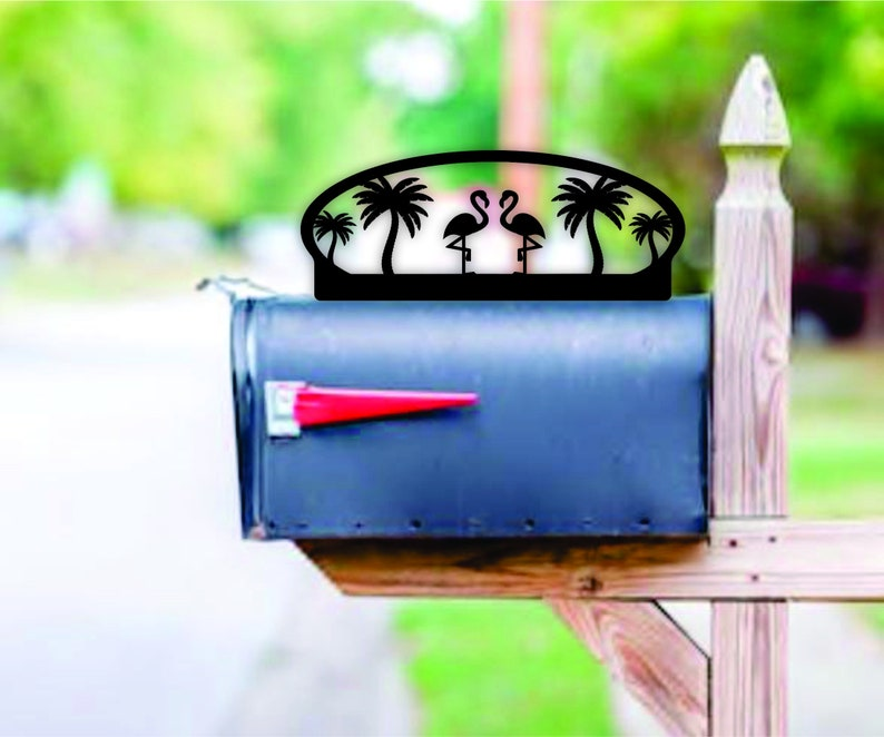 Flamingo Themed Steel Mailbox Topper