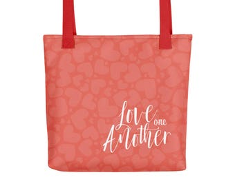 Love One Another with Hearts Tote Bag