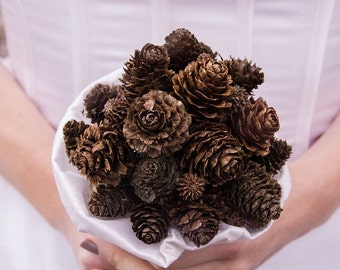 Wedding autumn bouquet - woodland, forest, elfic bouquet - pinecone fall bride
