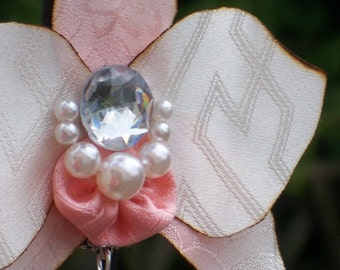 Orchid jewelery - pendant necklace, brooch or hairdress and earrings