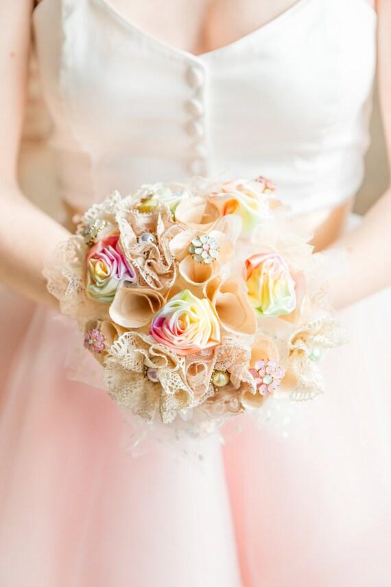Vintage Pastell Rainbow Brautstrauss Blumen Im Brautstrauss Etsy