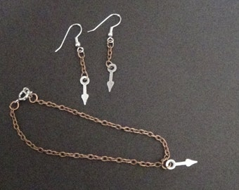 Bracelet and Earring Set Featuring Small Clock Hand Charm (#11)