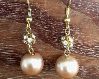 champagne pearl and swarovski rhinestone earrings