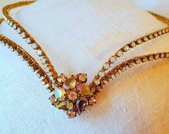 White Opal Diadem with Vintage Jewel— Ballet Headpiece— Bridal Headress— Elven— Cosplay