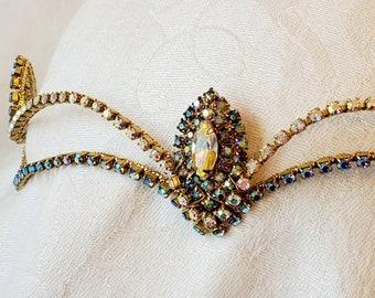 Diadem with Vintage Peacock Jewel— Ballet Headpiece-  Elven— Cosplay- Esmerelda- Bluebird
