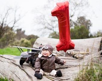 "JUMBO RED NUMBER Balloon | 34"" Jumbo Large Birthday Number Balloon, Balloon Garland, One, Cake Smash, Wedding, Monochrome, Baby Shower"
