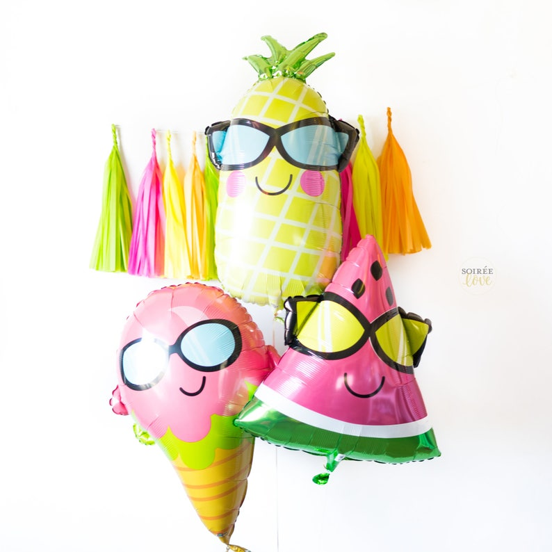 SUMMER FRUIT Balloons  Ice Cream Pineapple Pink Green image 0