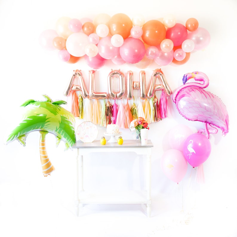 ALOHA FLAMINGLE Balloon Tassel Party Box  Flamingo Bridal image 0