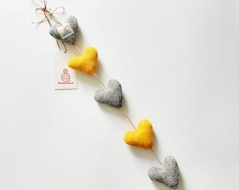 Harris Tweed Vertical Heart Garland in Yellow & Grey, Colourful Homeware, Yellow Decor, Grey Decor, Lewisian Nice