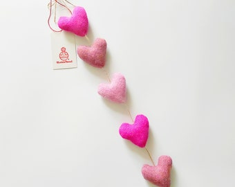 Harris Tweed Vertical Heart Garland in a Shades of Pink, Colourful Homeware, Pink Decor, Lewisian Nice
