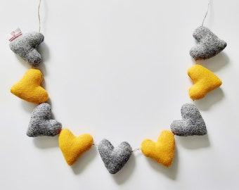 Harris Tweed Heart Garland in Yellow & Grey, Colourful Homeware, Yellow Decor, Grey Decor, Lewisian Nice