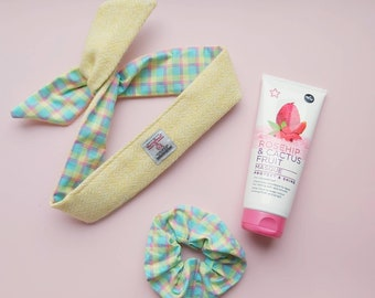Spring Hair Flair & Care Box - Harris Tweed Headband, Scrunchie and Hair Masque Set