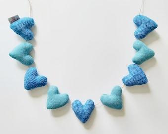 Harris Tweed Heart Garland in Shades of Blue, Colourful Homeware, Blue Decor, Lewisian Nice