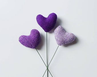 Harris Tweed Heart Flower Stems Bundle of 3 limited edition Purple, Smaller Size of Hearts, Lewisian Nice