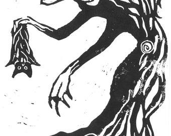 Troglodytin Linocut Print